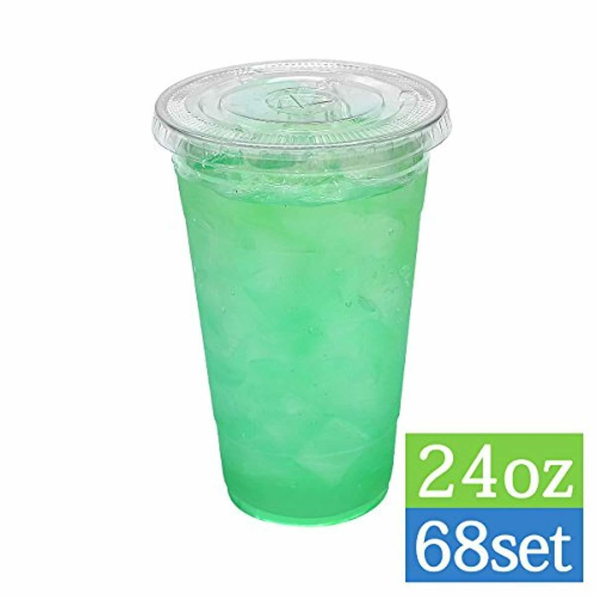 TashiBox Disposable Crystal Clear Cold Drink 24oz-68 Sets Plastic Cups with Ice
