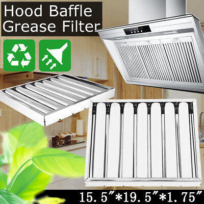 1pc Stainless Steel Commercial Hood Baffle Grease Filter 19.5x15.5x1.75