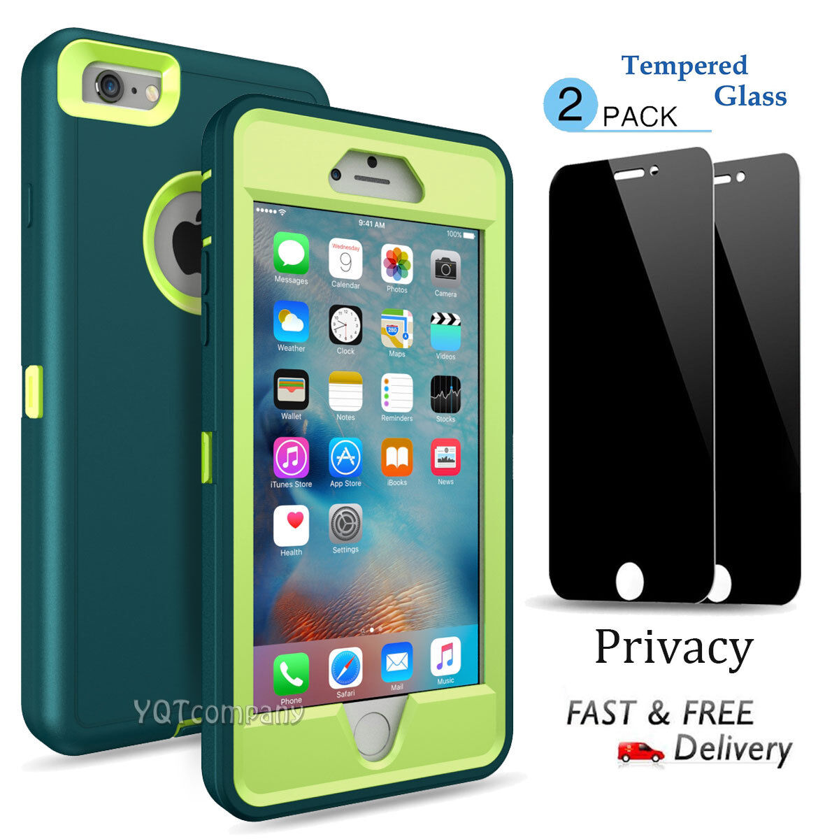 For iPhone 6 6S 7 Plus XS Max XR Case Hybrid Heavy Duty + Privacy Tempered Glass