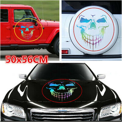 Car Hood Spare Tire Cover Side Body Personality Sticker Laser Skull Graphics