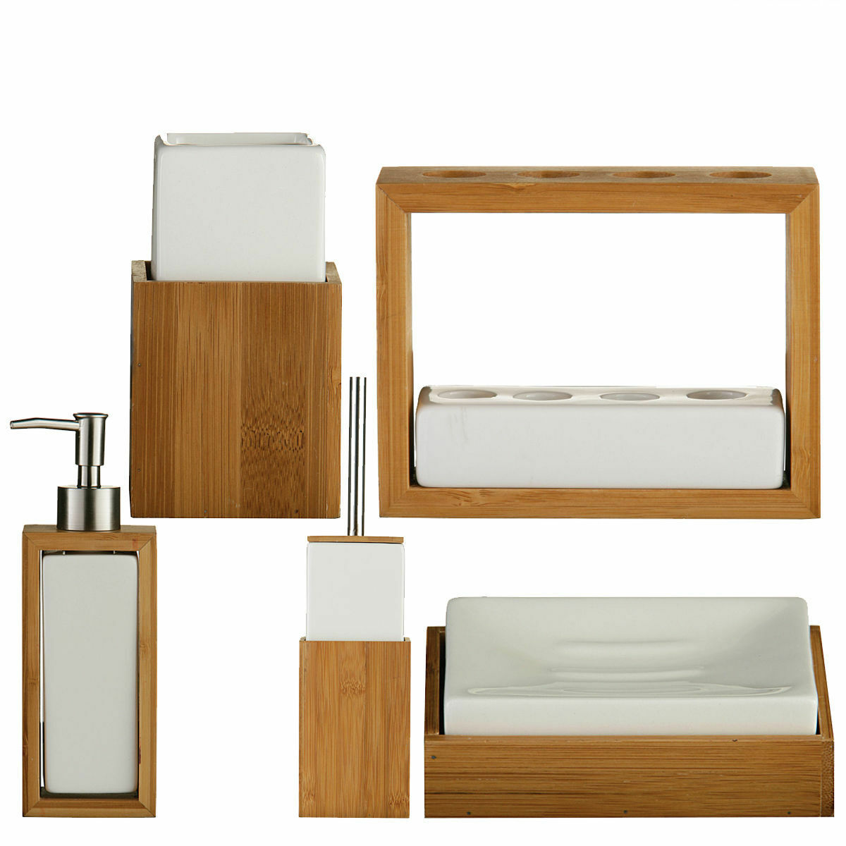 White Ceramic Wooden Bamboo Sink Bathroom Accessories Set
