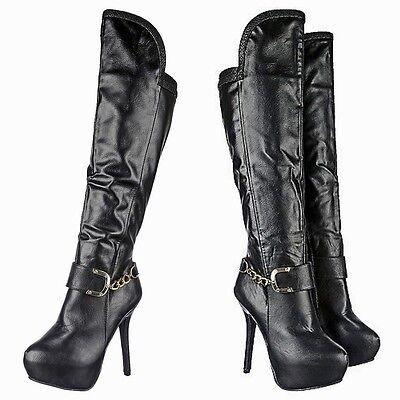 Classy Winter Gold Buckle Knee High Boots Pumps Stiletto Platform High Heel B53