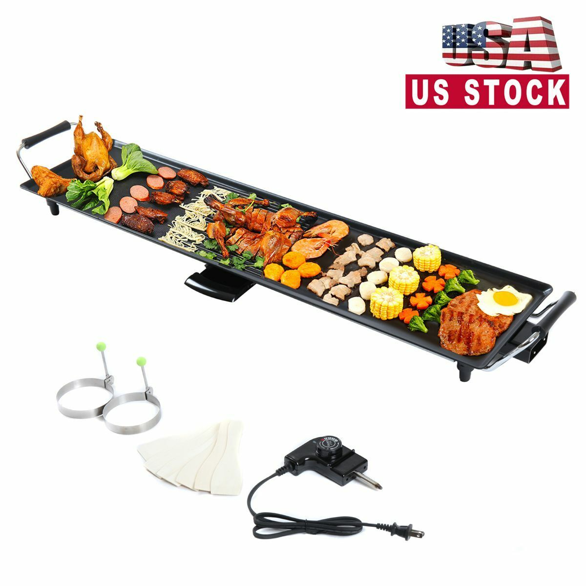 Electric Griddle Kitchen Non-stick Grill Pan Cookware BBQ In