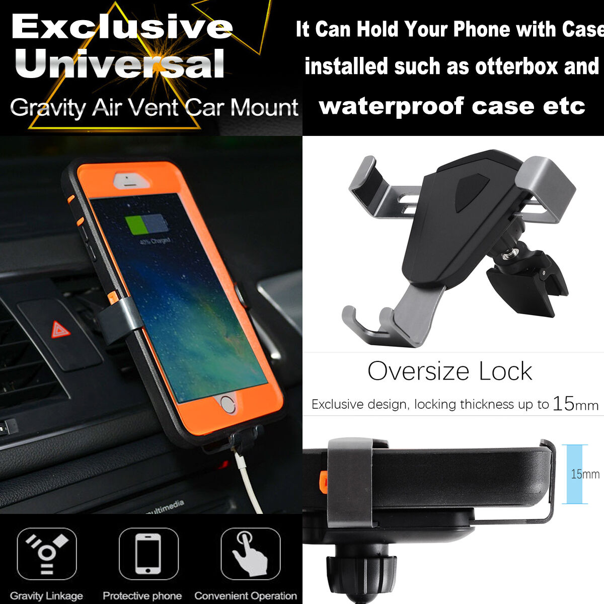 Universal 360° Gravity Car Mount Air Vent Holder Cradle Stand For Smart Phone