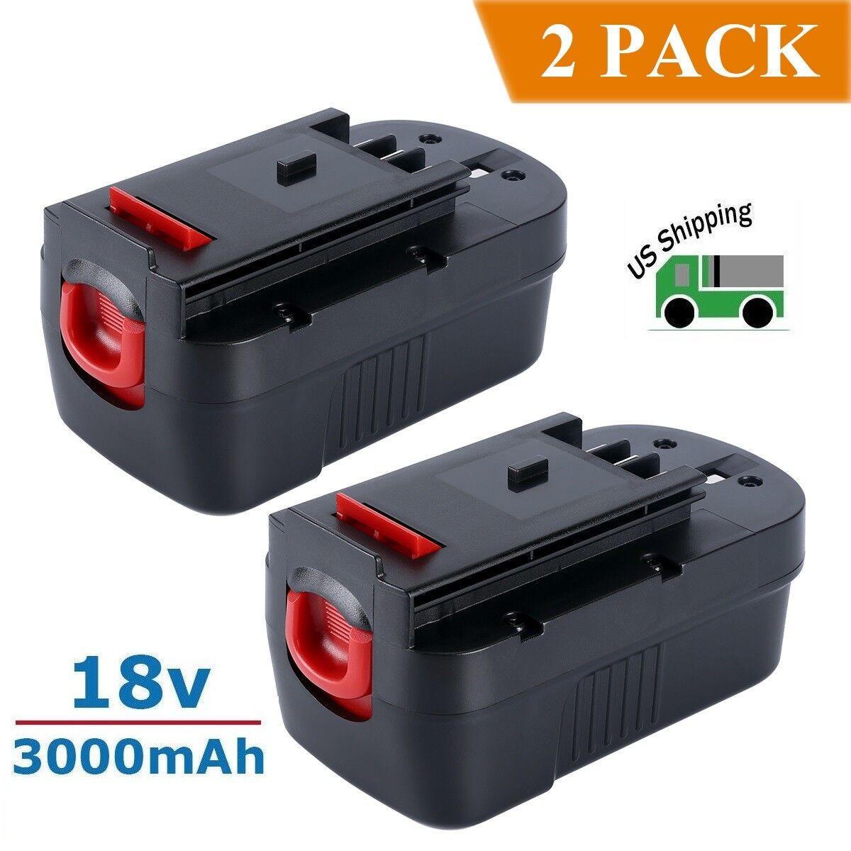 2 Pack New 18V 3000mAh NI-CD Battery for Black & Decker HPB1