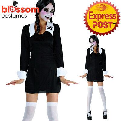 CSW73 Creepy School Girl Wednesday Addams Family Dress Up Halloween Goth Costume ()