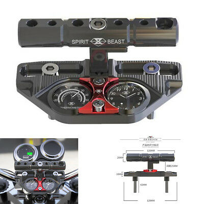 Motorcycle ATV Clock Handlebar Pressure Block Extension Bracket With Thermometer