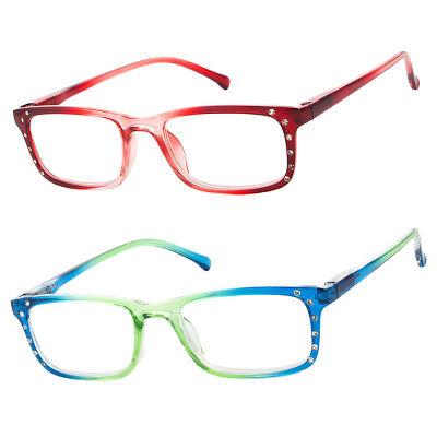 Classic Women Rhinestone Spring Hinge Rectangular Frame Full Reading Glasses