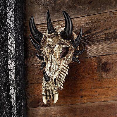 Dragon Skull Statue Wall Table Art Sculpture Medieval Gothic Halloween Decor