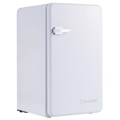 3.2 Cu Ft Retro Compact Refrigerator w/ Freezer Interior Shelves Handle White