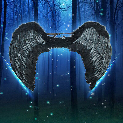 New Sexy Black  Angel Wings Costume Outfit Feather Fairy Cosplay props Unisex](Black Feather Wings Costume)