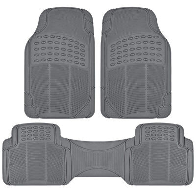 Car Rubber Floor Mats for All Weather Heavy Duty Protection Trim-to-Fit Gray