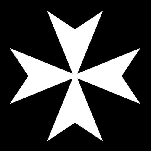 Maltese Cross Masonic Vinyl Decal - White 6 Inch