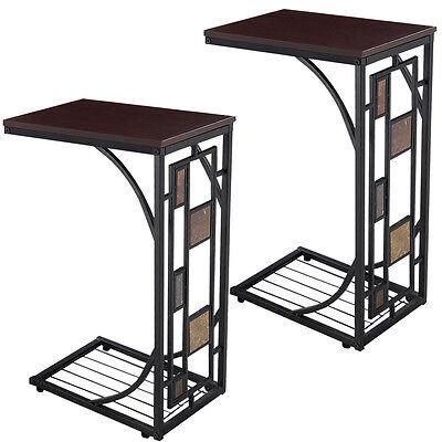 تربيزه جديد 2PCS Coffee Tray Side Sofa Table Ottoman Couch Console Stand End TV Lap Snack