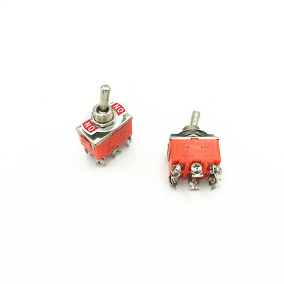 2pcs Latching Toggle Switch 1321 6-pin 2 Position On-on Dpdt 15a 250vac