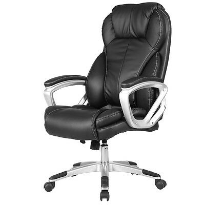 Pu Leather Executive Office Chair High Back Ergonomic Computer Desk Task Black