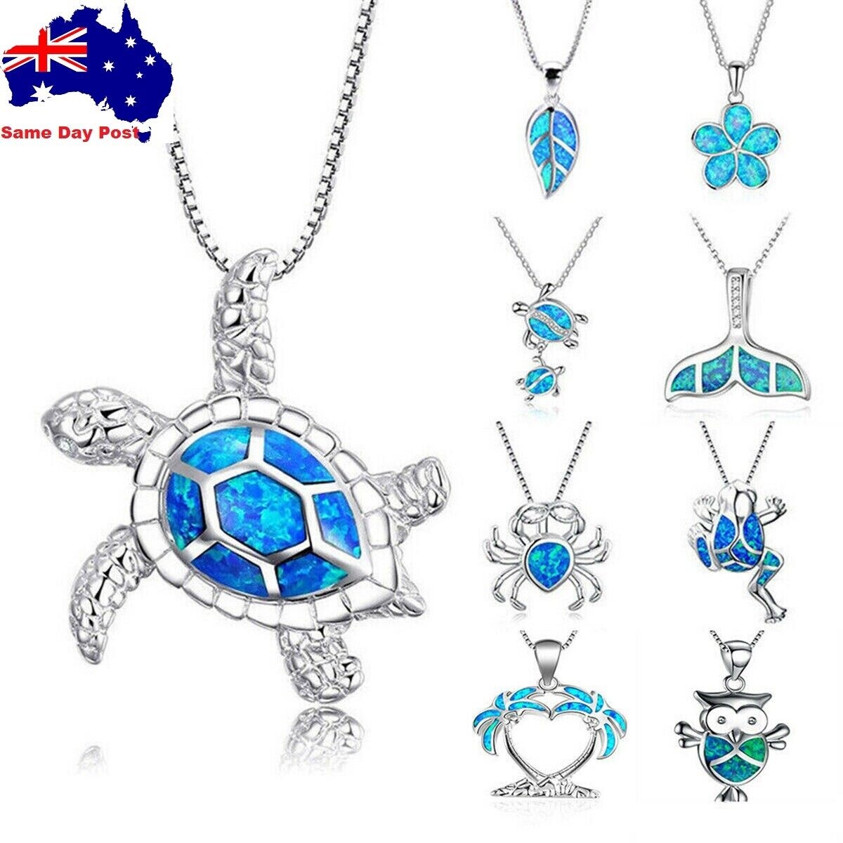 Jewellery - Cute Sea Animal Turtle Pendant Necklace Silver Blue Fire Opal Jewelry Gift Chain