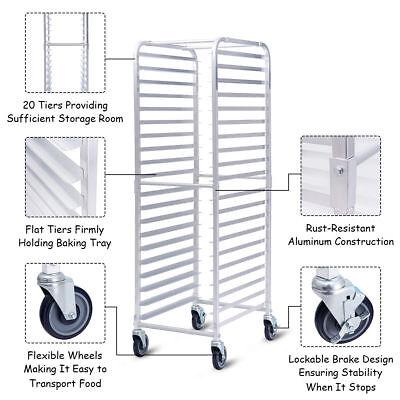 20 Tier Sheet Pan Tray Restaurant Kitchen Bakery Rolling Rack Aluminum End Load