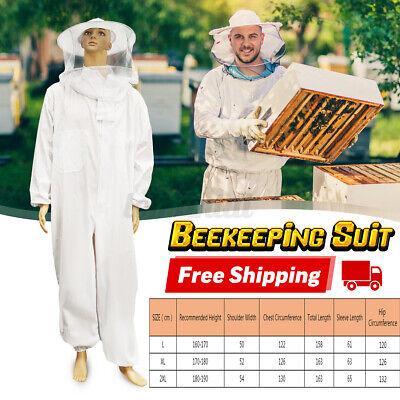 Xxl Professional Cotton Full Body Beekeeping Bee Keeping Suit W Veil Hood N