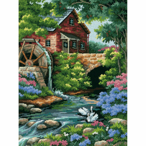 """Dimensions 2484 Old Mill Cottage Needlepoint Kit 14 Mesh Canvas 12"""" X 16"""" NIP"""