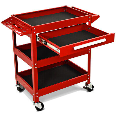 Tool Cart 3-Tray Rolling Tool Organizer With Drawer Industri
