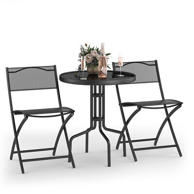 3 Pcs Bistro Set Garden Backyard Table Folding Chairs Outdoo