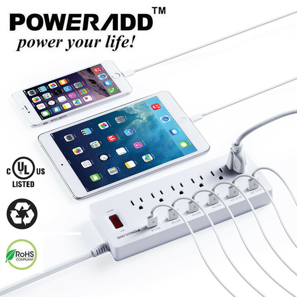 6 power strip usb