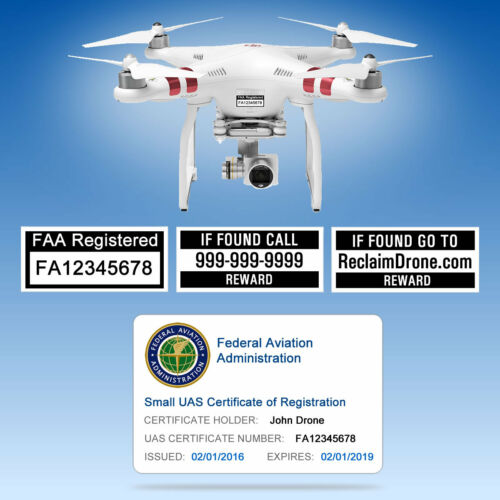 Drone FAA UAS Certificate of Registration ID Card + Label set - Hobbyist Pilot