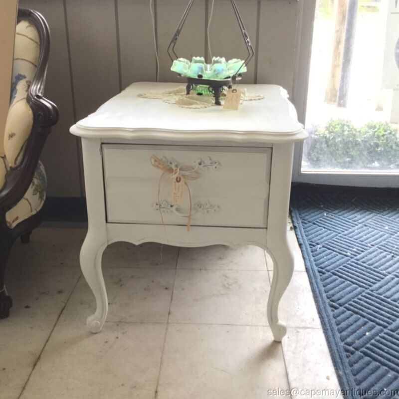 Painted White Nightstand French Provincial Shabby Dixie Vintage Large Drawer