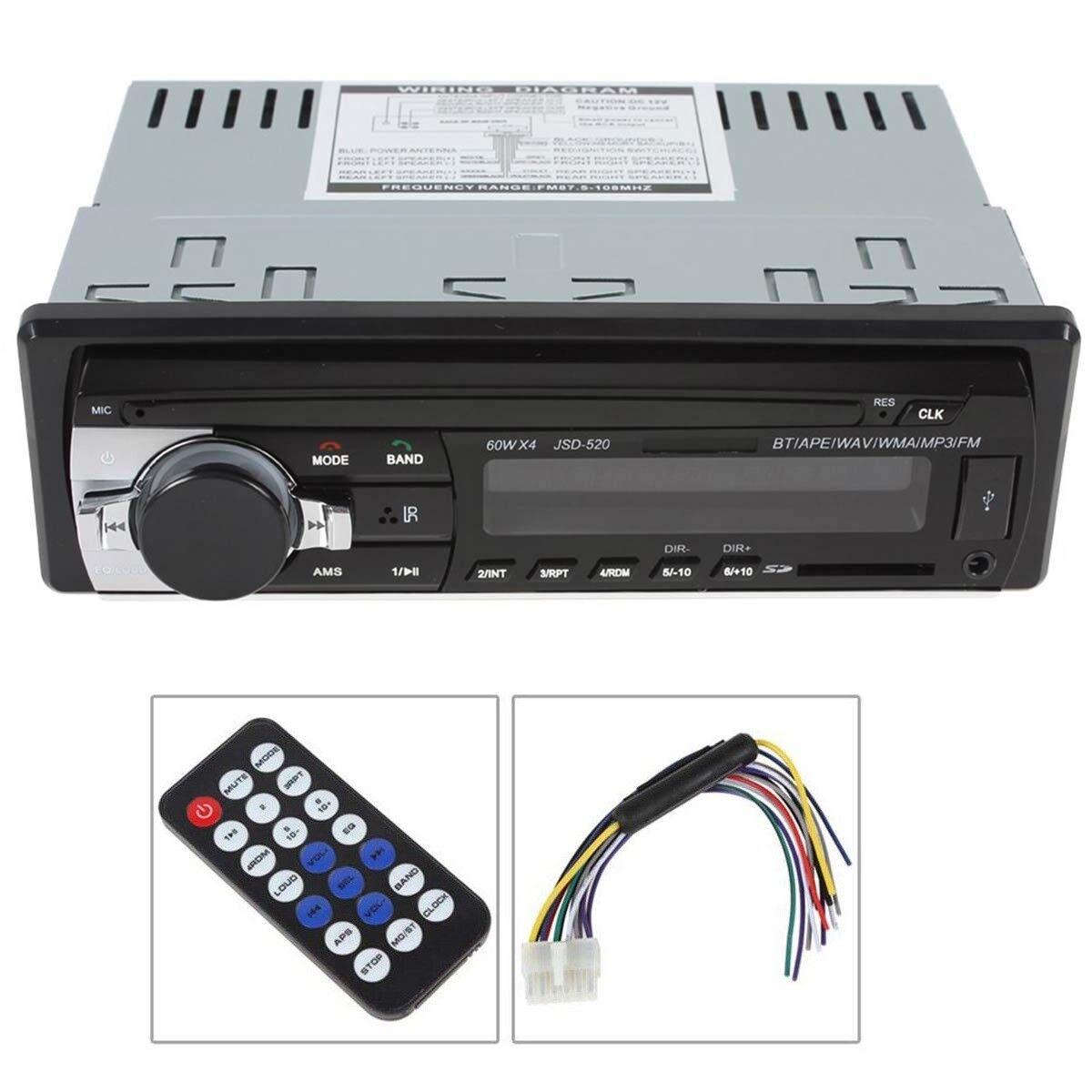 12V FM In Dash Car Stereo Radio 1 DIN SD/USB AUX Bluetooth H