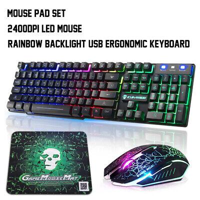 Gaming Tastatur Beleuchtet Tastatur und Maus 2400DPI USB Ergonomisch mit Mauspad - Tastatur Tastatur Maus