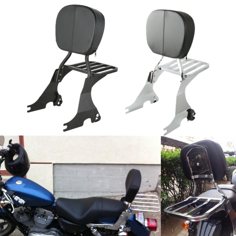 Backrest Sissy Bar & Luggage Rack For Harley Sportster XL 883 1200 48 72 04-18