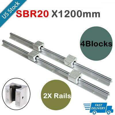Sbr20-1200mm Linear Rail Slide Guide 2x Rod 4x Sbr20uu Bearing Block For Cnc