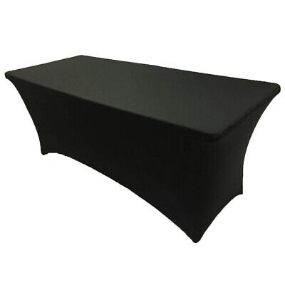 6' ft. Spandex Fitted Stretch Tablecloth Table Cover Wedding Banquet Party Black - Party Table Cover Tablecloth