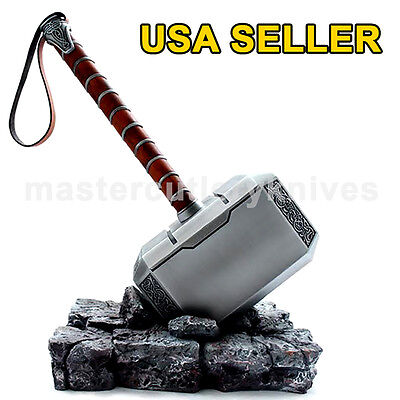 1:1 Full Metal Avengers Thor Hammer 1:1 Replica Prop Mjolnir Resin Base Cosplay