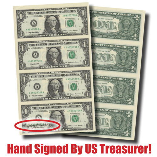 Hand-Signed Crisp 4-Note Sheet-$1 Bills by Treasurer Mary Ellen Withrow (#10139)