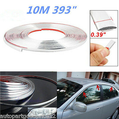 (10M Chrome Car Body Door Edge Lip Protector Decor Moulding Trim Molding Strips)