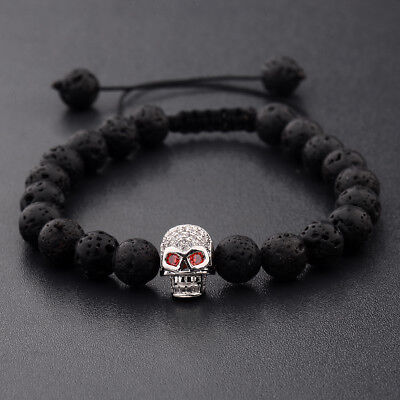 Fashion Men Zircon Silver Plated Skull Beads Braided Macrame Bracelets Xmas Gift