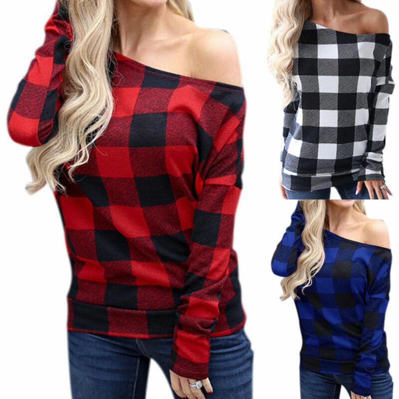 Women Long Sleeve Blouse Off-Shoulder Casual Plaid T-Shirt L