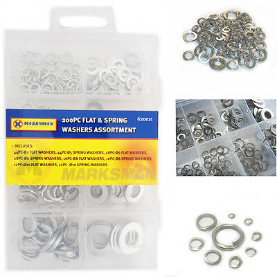 165 Washers Flat Form Steel Asorted Sizes Stainless Steel Rust Free Kit Case
