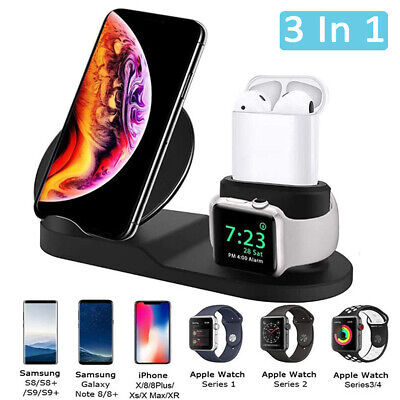 3 in 1 Wireless Charger Fast Charging Dock Station For iPhone 8 X XR Apple Watch