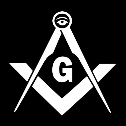 All Seeing Eye Square & Compass Masonic Vinyl Decal - White 6 Inch
