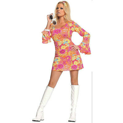ADULT WOMENS 60'S 70'S RETRO FLOWER POWER DISCO GO GO GIRL GROOVY HIPPIE COSTUME - Girl Disco Costume