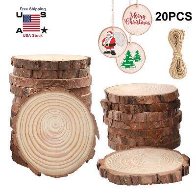 20pcs Christmas Wood Slices Tree Ornaments Xmas Hanging Pendant Home Decor DIY ()