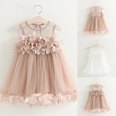 6659113ecd5 Toddler Kids Baby Girls Princess Party Pageant Wedding Tulle Tutu Flower  Dresses