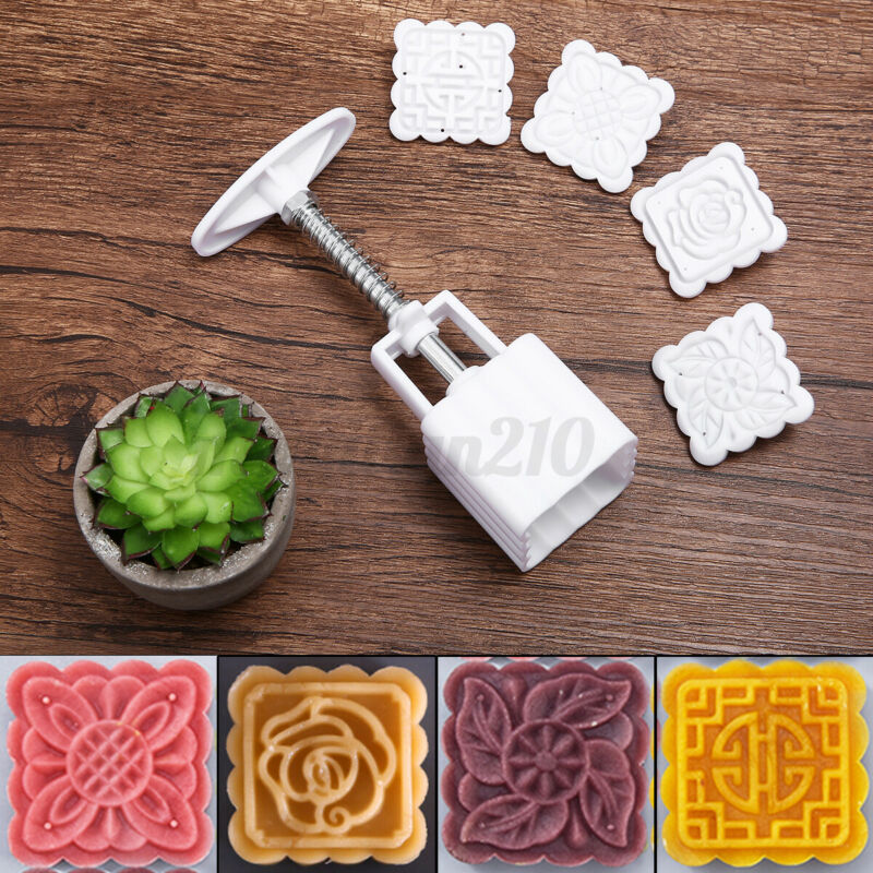 4 Flower Stamp Square 50g Moon Cake Mold Pastry Mooncake Mould DIY Baking Tool