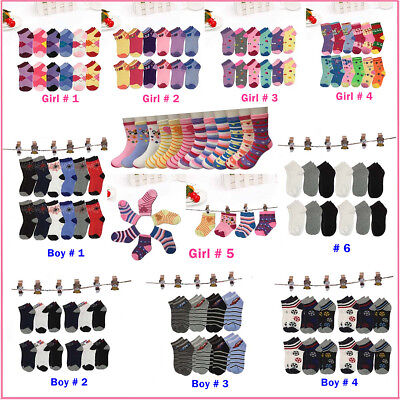 Lot 6 12Pairs Kids Crew Ankle Socks Toddler Boy Girl Casual Multi Color Size -