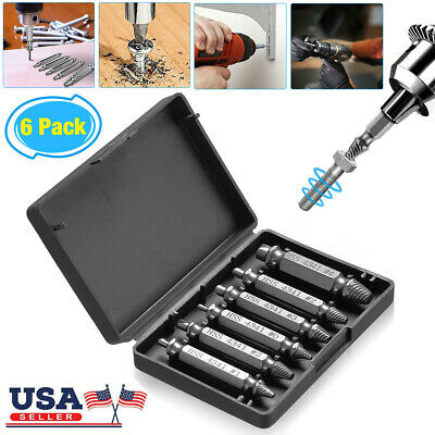 6PCS Broken Bolt Damage Screw Remover Extractor Drill Bits Easy Out Stud Reverse