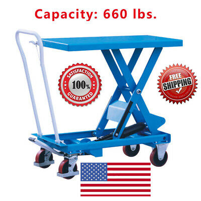 Eoslift Ta30 Hydraulic Single Scissor Lift Table Cart 19.7x 32.1 Cap660 Lbs.