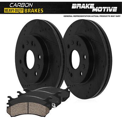 Front Kit Black Brake Rotors +Carbon Ceramic Pads For Toyota 4Runner Tacoma
